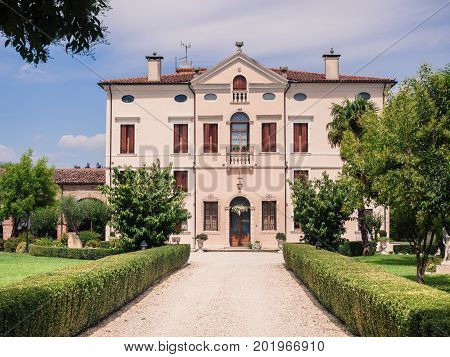 Verona Italy - July 28 2017: Villa Bongiovanni open for a wedding fair on Verona Saturday March 29 2015. It was built in a neoclassical style in the eighteenth century by the Bongiovanni family.