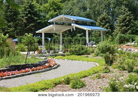 A gazebo and path in the arboretum