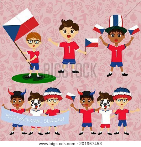 Set of boys with national flags of Czech Republic. Blanks for the day of the flag independence nation day and other public holidays. The guys in sports form with the attributes of the football team
