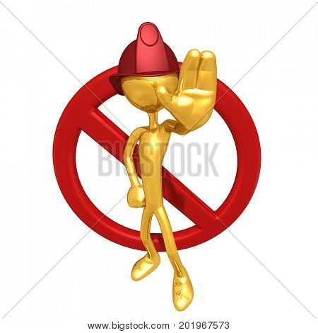 The Original 3D Character Fireman Illustration With A No Symbol