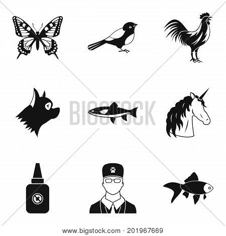 Animal care icons set. Simple set of 9 animal care vector icons for web isolated on white background