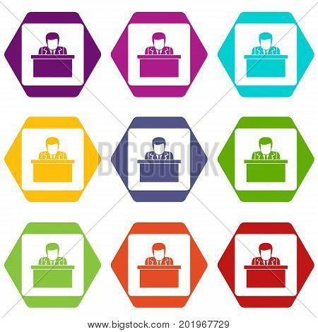 Orator speaking from tribune icon set many color hexahedron isolated on white vector illustration