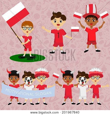 Set of boys with national flags of Poland. Blanks for the day of the flag independence nation day and other public holidays. The guys in sports form with the attributes of the football team