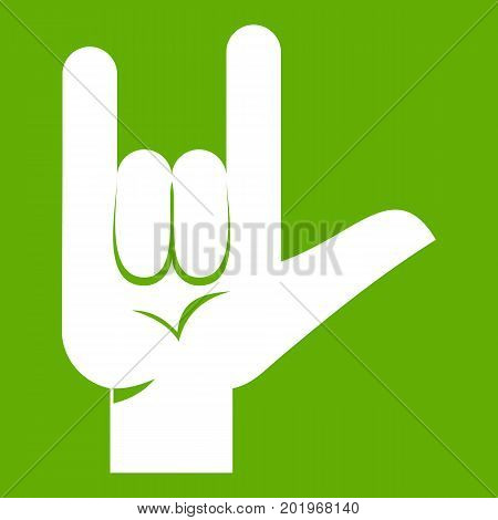 Rock gesture icon white isolated on green background. Vector illustration