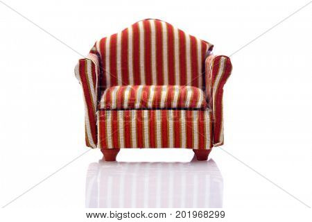 Doll Furniture. Miniature furniture isolated on white. room for text.