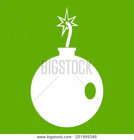 Cannonball icon white isolated on green background. Vector illustration