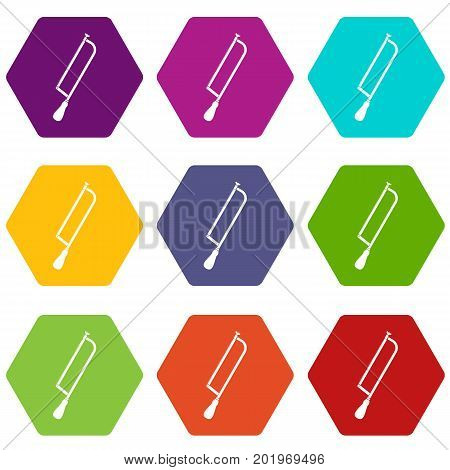Amputation and surgical saw icon set many color hexahedron isolated on white vector illustration