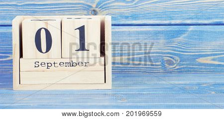 Vintage Photo, September 1St. Date Of 1 September On Wooden Cube Calendar