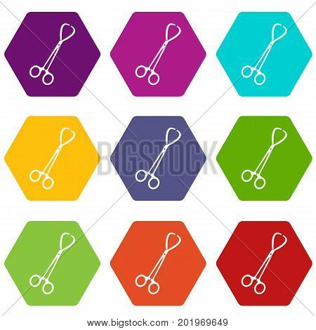 Pair of stainless steel surgical forceps icon set many color hexahedron isolated on white vector illustration