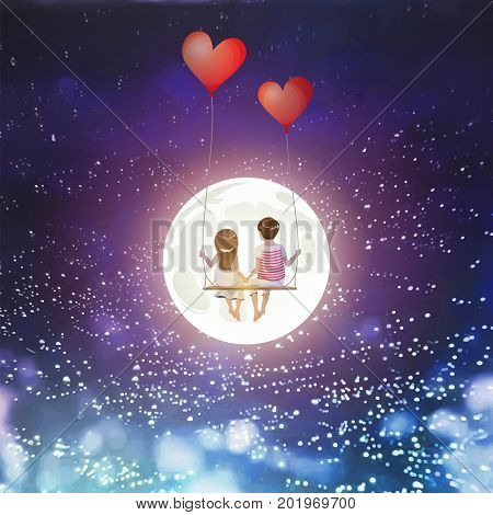 Cartoon lover couple is sitting on red heart balloon swing, being on full moon sky background, Happy Valentines Day concept, Vector Illustration