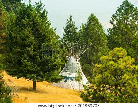 An Indian replica teepee/lodge in a clearing in the forest.