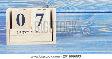 Vintage Photo, September 7Th. Date Of 7 September On Wooden Cube Calendar