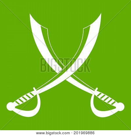 Crossed sabers icon white isolated on green background. Vector illustration