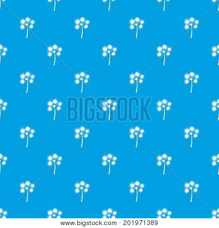 Spiny tropical palm tree pattern repeat seamless in blue color for any design. Vector geometric illustration