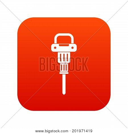 Pneumatic hammer icon digital red for any design isolated on white vector illustration