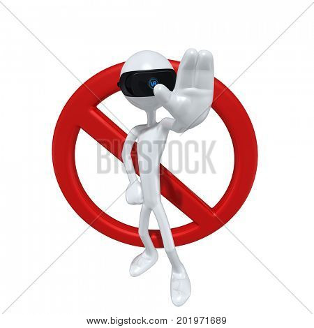 The Original 3D Character Illustration Wearing Virtual Reality Goggles With A No Symbol
