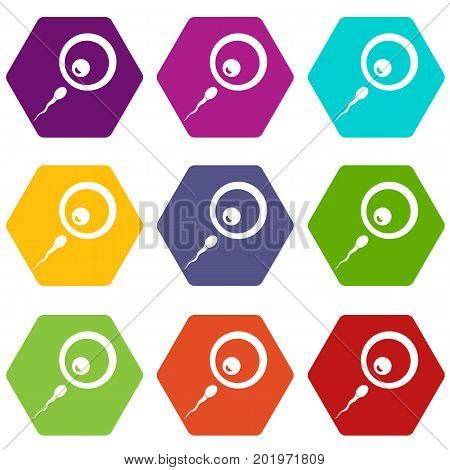 Donor sperm icon set many color hexahedron isolated on white vector illustration