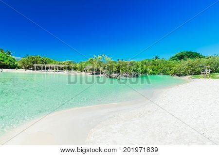 great amazing inviting view of tropical white sand beach and tranquil turquoise ocean lagoon on blue sky background at Cayo Coco Cuban island, sunny summer beautiful day