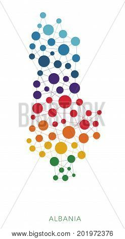dotted texture Albania vector rainbow colorful background