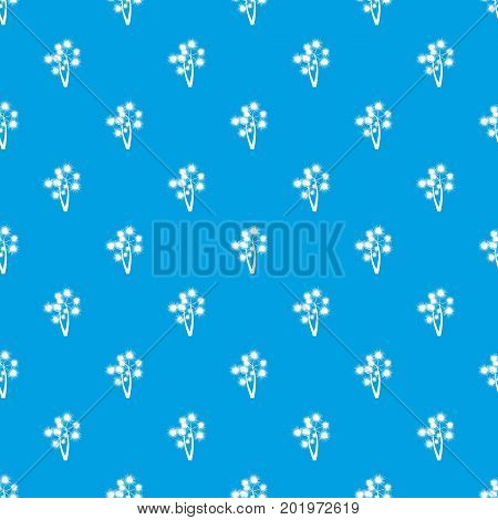 Prickly palm pattern repeat seamless in blue color for any design. Vector geometric illustration