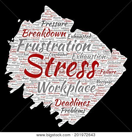 Conceptual mental stress at workplace or job pressure paint brush or paper word cloud isolated background. Collage of health, work, depression problem, exhaustion, breakdown, deadlines risk