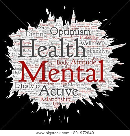 Conceptual mental health or positive thinking paint brush paper word cloud isolated background. Collage of optimism, psychology, mind healthcare, thinking, attitude balance or motivation text