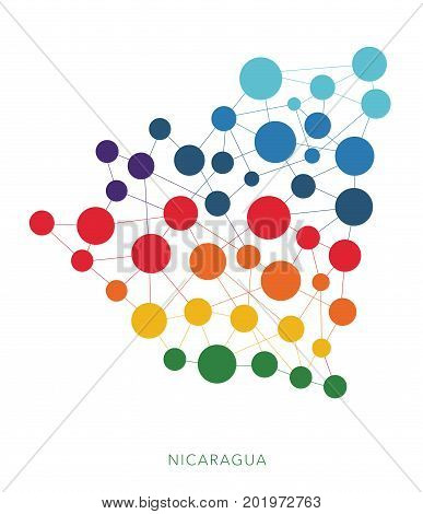 dotted texture Nicaragua vector rainbow colorful background