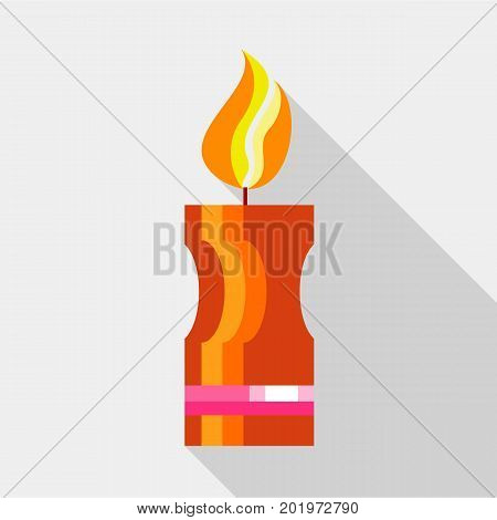 Brown candle icon. Flat illustration of brown candle vector icon for web