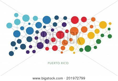dotted texture Puerto Rico vector rainbow colorful background