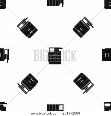 Multipurpose device, fax, copier and scanner pattern repeat seamless in black color for any design. Vector geometric illustration