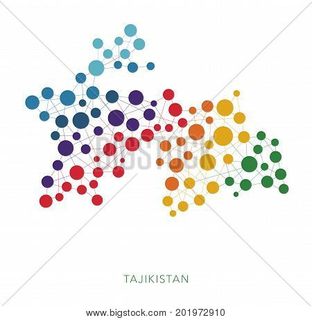 dotted texture Tajikistan vector rainbow colorful background