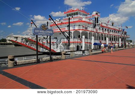 SAVANNAH, GA - JULY 22: City Hall Landing hosts the popular Georgia Queen along with ferries that transport the public along the Savannah River July 22, 2017 in Savannah, GA