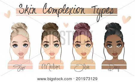 Vector illustration of four different skin complexion types