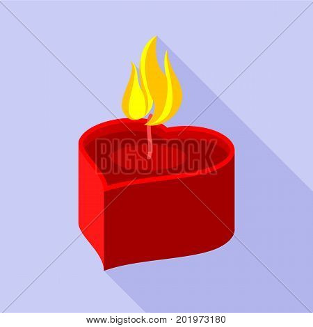 Heart candle icon. Flat illustration of heart candle vector icon for web