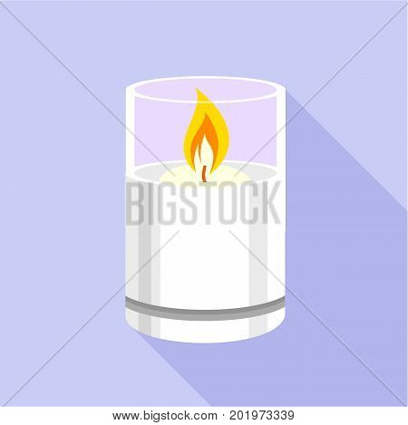 Candle glass icon. Flat illustration of candle glass vector icon for web
