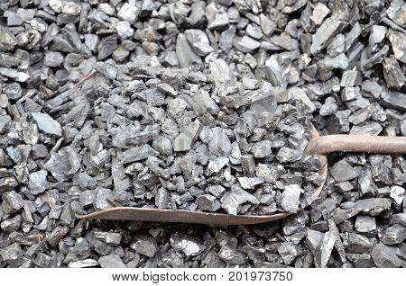 Coal anthracite of fine fraction lies with a metal shovel.