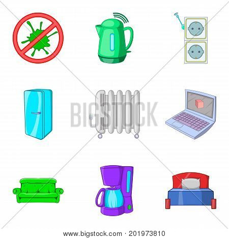 Clean apartment icons set. Cartoon set of 9 clean apartment vector icons for web isolated on white background