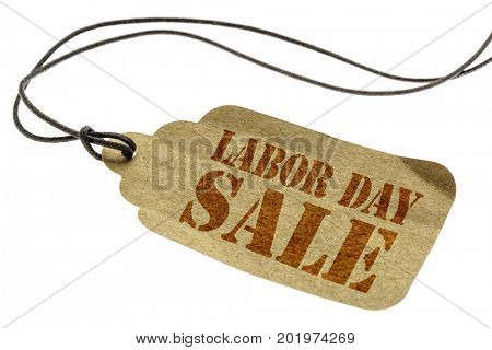 Labor Day sale sign - a paper price tag with a twine isolated on white