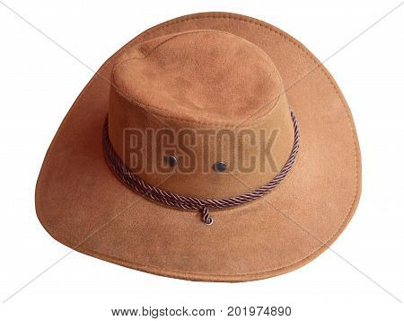 Brown leather hat isolated on white background. (clipping path)