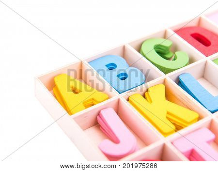 colorful Wooden alphabet blocks with letters