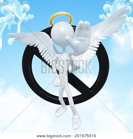 The Original 3D Character Angel Illustration With A No Symbol
