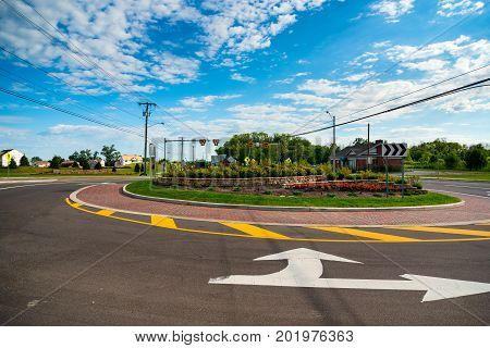 A recently installed traffic circle or roundabout in Twinsburg Ohio