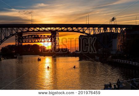 Sunset above the Cuyahoga River in Cleveland Ohio