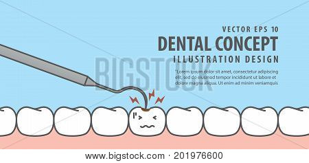 Banner Caries Tooth And Teeth Checkup Illustration Vector On Blue Background. Dental Concept.
