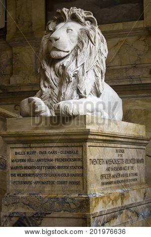 Boston, MA, USA, August 2016, Boston Public Library Lion Statue