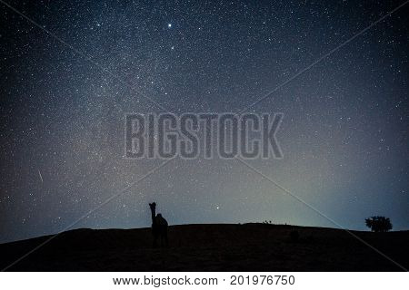 Long exposition picture of many stars with camel silhouette in Thar Desert located close to Jaisalmer the Golden City in India.