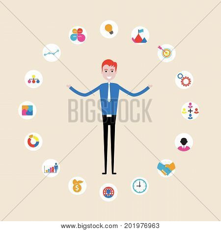 Manageroffice worker or businessman making a presentation at office. Business executive delivering a presentation to his colleagues during meeting or in-house business training explaining new business concept and strategy.Businessman juggling business ico