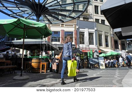 Woman Shopping In Chancery Square Auckland New Zealand