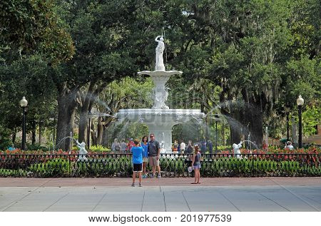 SAVANNAH, GA - JULY 23: A popular attraction on the north end of Forsyth Park is the ornate fountain that was built in 1858, just prior to the Civil War July 23, 2017 in Savannah, GA