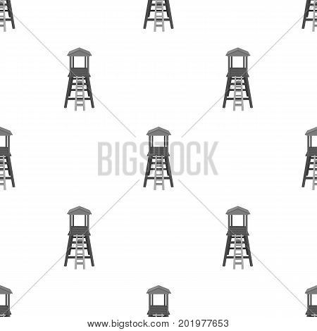Observation tower for hunters.African safari single icon in monochrome style vector symbol stock illustration .